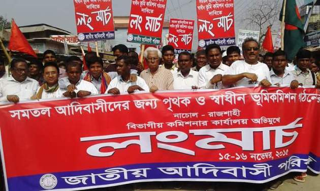 Long March 2015 by indigenous people of Bangladesh for independent land commission. Photo source: Facebook